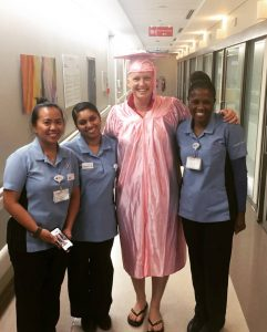 Sara alongside the nurses that cared for her during her Chemotherapy treatment